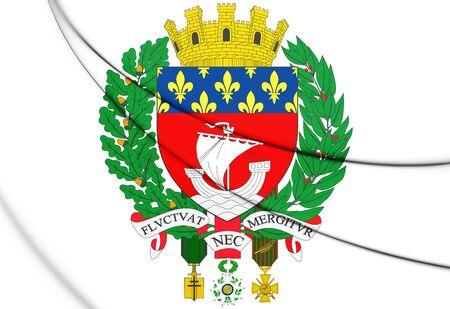 blason: Paris Coat of Arms, France. 3D Illustration.    Stock Photo