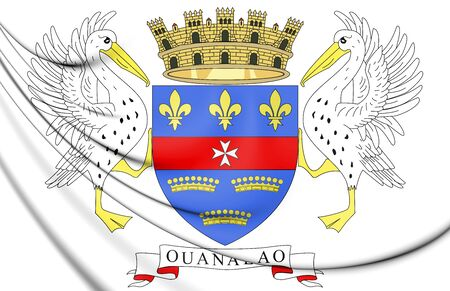 blason: 3D Flag of Saint Barthelemy. 3D Illustration.