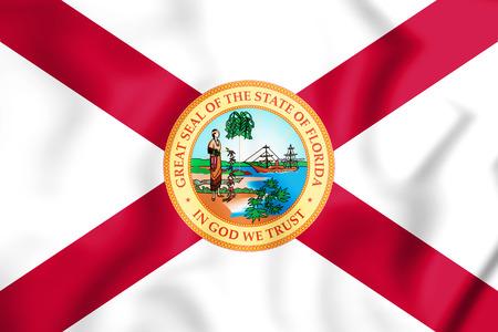 フロリダ州 (1900-1985)、米国の 3 D 旗。3 D イラスト。 写真素材