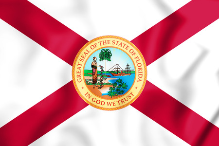 3D Flag of Florida (1900-1985), USA. 3D Illustration. Stock Photo