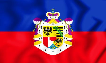 3D Flag of the Liechtenstein. 3D Illustration.
