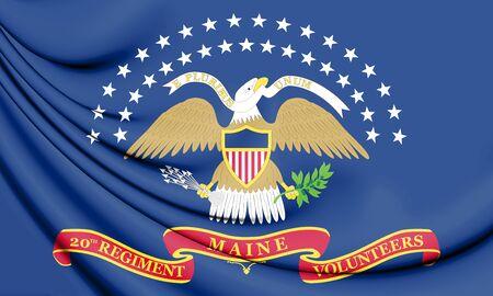 The 20th Maine Volunteer Infantry Regiment Flag. 3D Illustration.   Stock Photo