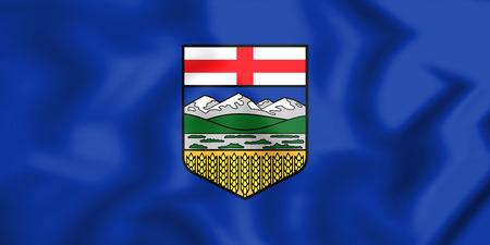 3D Flag of Alberta, Canada. 3D Illustration.