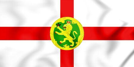 3D Flag of the Alderney. 3D Illustration.