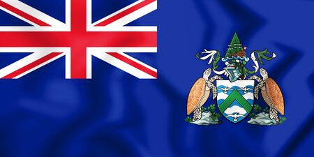 georgetown: 3D Flag of Ascension Island. 3D Illustration. Stock Photo