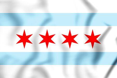 3D Flag of Chicago, USA. 3D Illustration. Stock Photo