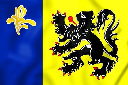 flemish: 3D Flag of Flemish Community Commission. 3D Illustration. Stock Photo