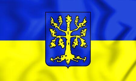 3D Flag of Hagen (North Rhine-Westphalia), Germany. 3D Illustration.
