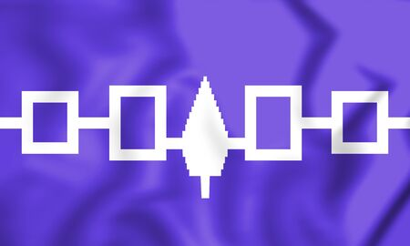 iroquois: Flag of Iroquois Confederacy, Hiawatha Belt. 3D Illustration.