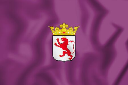 leon: 3D Flag of Leon Province, Spain. 3D Illustration.