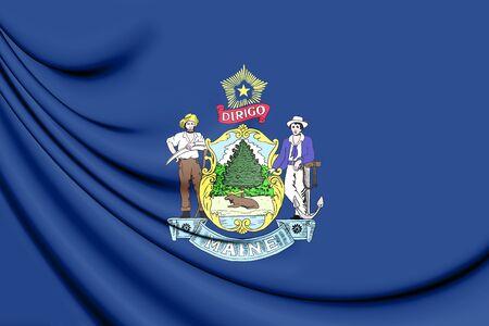 3D Flag of Maine, USA. 3D Illustration.