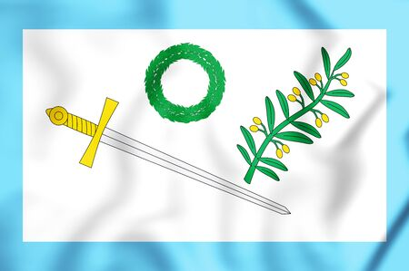 former: 3D Flag of Mexican Insurgents (parliament variant). 3D Illustration.