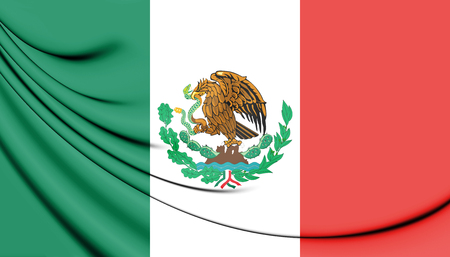 former: 3D Flag of Mexico (1916-1934). 3D Illustration. Stock Photo