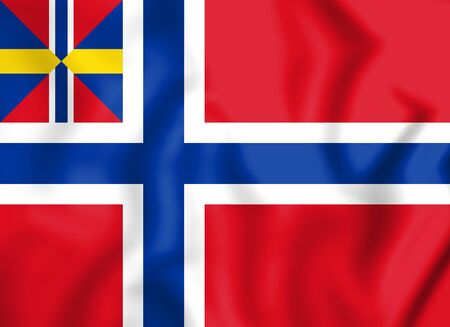 norway flag: National and Merchant Flag of Norway (1844-1899). 3D Illustration. Stock Photo