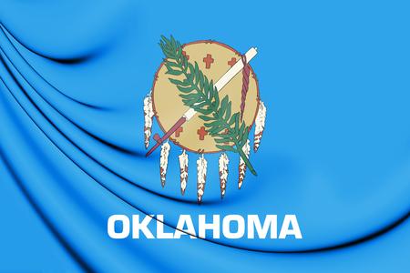 oklahoma: 3D Flag of Oklahoma, USA. 3D Illustration. Stock Photo