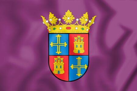 leon: 3D Flag of Palencia City, Spain. 3D Illustration. Stock Photo