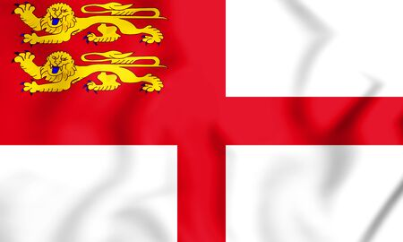 3D Flag of Sark, Bailiwick of Guernsey. 3D Illustration.