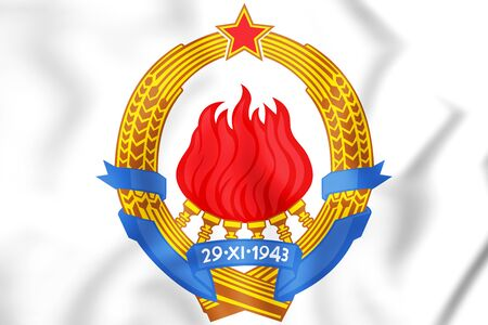 3D Yugoslavia Coat of Arms. 3D Illustration. Stock Photo