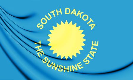 3D Flag of South Dakota (1909-1963), USA. 3D Illustration.