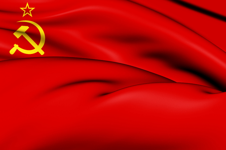 3D Flag of the Soviet Union (1923-1955). 3D Illustration.