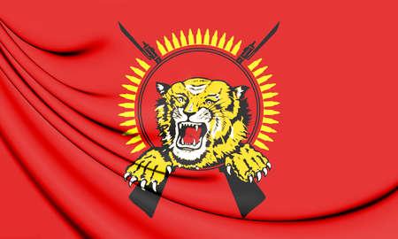 3D Flag of Tamil Eelam. 3D Illustration.
