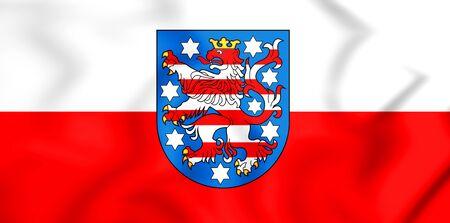 3D Flag of Thuringia, Germany. 3D Illustration.