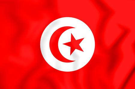 3D Flag of the Tunisia. 3D Illustration. Stock Photo