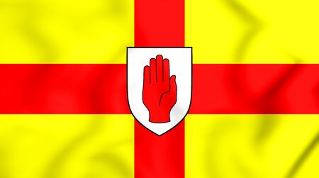 ulster: 3D Flag of Ulster Province, Ireland. 3D Illustration. Stock Photo