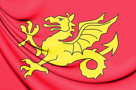 former: 3D Flag of the Wessex. 3D Illustration.