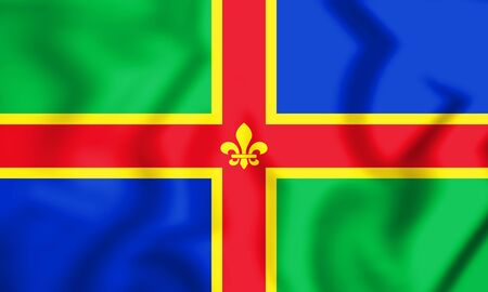 3D Flag of Lincolnshire, England. 3D Illustration. Stock Photo