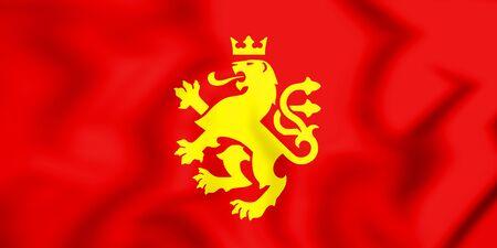 3D Flag of Ethnic Macedonian Lion. 3D Illustration.