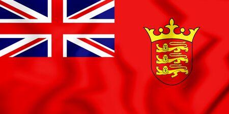3D Civil Ensign of the Jersey. 3D Illustration.