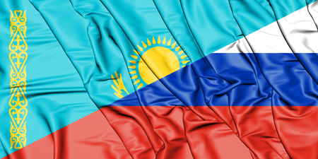 3D Flag of Russia and Kazakhstan. 3D Illustration.