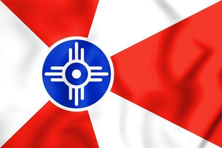 kansas: 3D Flag of Wichita (Kansas), USA. 3D Illustration.