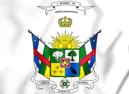 republique: Central African Republic coat of arms (1976-1979). 3D Illustration. Stock Photo
