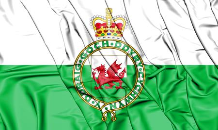 Bandiera 3D del Galles (1953-1959). Illustrazione 3D. Archivio Fotografico