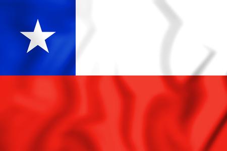 bandera chilena: Bandera 3D de Chile Ilustración 3D.