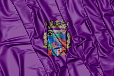palencia province: 3D Flag of Palencia Province, Spain. 3D Illustration.