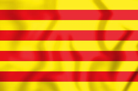 3D Flag of the Catalonia. 3D Illustration.