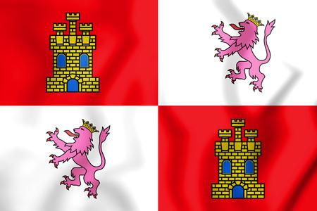 leon caricatura: 3D Bandera de Castilla y León, España. Ilustración 3D. Foto de archivo