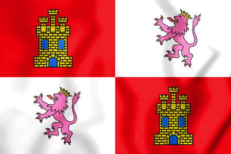 leon: 3D Flag of Castile and Leon, Spain. 3D Illustration. Stock Photo