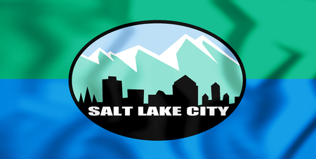 3D Flag of Salt Lake City (Utah), USA. 3D Illustration.