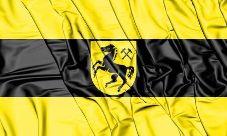 3D Flag of Herne, Germany. 3D Illustration.