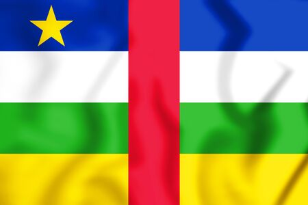republique: 3D Flag of the Central African Republic. 3D Illustration.