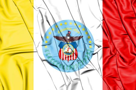 3D Flag of Columbus (Ohio), USA. 3D Illustration.