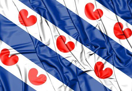 3D Flag of Friesland, Netherlands. 3D Illustration. Stock Photo