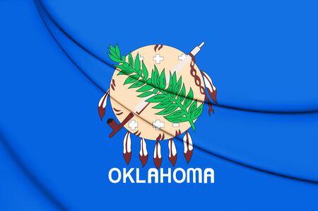 3D Flag of Oklahoma, USA. 3D Illustration. Stock Photo