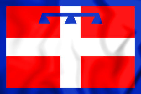 3D Flag of Piedmont, Italy. 3D Illustration. Zdjęcie Seryjne