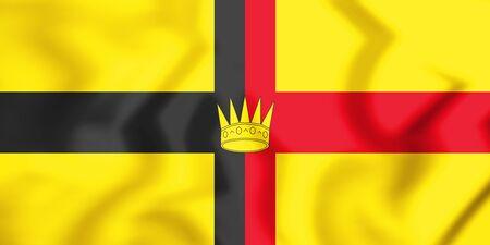 flag: 3D Flag of the Kingdom of Sarawak. 3D Illustration.