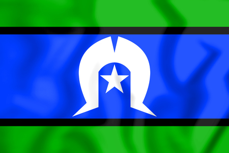 islanders: 3D Flag of Torres Strait Islanders. 3D Illustration. Stock Photo
